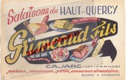 46 - CAJARC - BUVARD SALAISONS DU HAUT QUERCY - GRIMEAUD FILS- JAMBON SAUCISSON PATES - Food