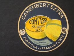 étiquette De Fromage Neuve Camembert Extra Comt'eski  A. GRANDPERRIN Fleurey Les Saint-Loup Franche-Comté  Initiales A G - Formaggio