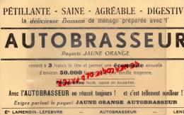 62 - LENS - BUVARD ETS LAMENDIN -LEFEBVRE- AUTOBRASSEUR- BOISSON DE MENAGE JAUNE ORANGE - Food