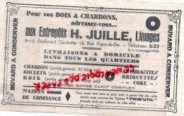 87 - LIMOGES - BUVARD - AUX ENTREPOTS H. JUILLE -8-15 BD GAMBETTA- 12 RUE VIGNE DE FER- CHARBON-BOIS-BOULETS - Papel Secante