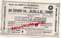 87 - LIMOGES - BUVARD - AUX ENTREPOTS H. JUILLE -8-15 BD GAMBETTA- 12 RUE VIGNE DE FER- CHARBON-BOIS-BOULETS - Buvards, Protège-cahiers Illustrés