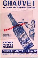 76 - LE HAVRE - GRAND  BUVARD RHUM CHAUVET - COMPAGNIE DES ANTILLES - Food