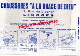 """87 - LIMOGES - BUVARD - CHAUSSURES """" A LA GRACE DE DIEU """" 2 RUE DU CLOCHER - MARQUE UNIC - LA TORTUE ET CANARDS - Food"""