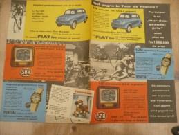 Qui Gagne Le Tour De France Fiat 600 Pontiac Horloge Sbr Telévision 1960 - Publicités