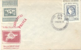 EXPOSICION FILATELIA DE LA PLATA EFIP 1956  SOBRE CON VIÑETA RARISIME VIGNETTE LABEL CINDERELLA DARDO ROCHA - Exposiciones Filatélicas
