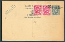 E.P. Carte Double Affranchie Lions Petits Sceau De L'Etat Surchargés -10% - 10768 - 1946 -10%