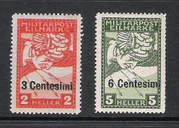 Feldpost Italien 1918 Satz ANK 24 - 25, *, KW: 30�