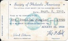 Membership Card DO000002 - Society Of Philatelic Americans 1950 - Historical Documents
