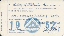 Membership Card DO000004 - Society Of Philatelic Americans 1952 - Historical Documents