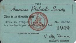 Membership Card DO000007 - American Philatelic Society 1949 - Documents Historiques