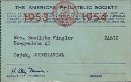 Membership Card DO000011 - American Philatelic Society 1953 / 1954 - Historical Documents