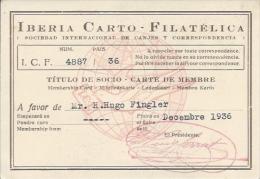 Membership Card DO000016 - Iberia Carto Filatelica 1936 - Documents Historiques