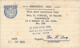 Membership Card DO000025 - Le Club Atlas Enrg. Montreal Canada 1958 - Historical Documents