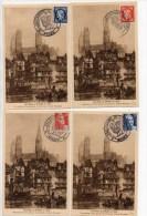 1949 - SERIE 4 CARTES EXPOSITION DU CENTENAIRE 24 Au 26 JUIN 1949 / ROUEN (SEINE MARITIME) - Storia Postale