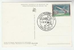 1958 BELGIUM Stamps COVER (card)  TELEX EXPO EVENT Pmk Telecom Telephone - Telecom