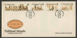 Falkland Islands 1985 FDC + Mi 419 /2 -  70th Ann. Camber Railway / Camber-Eisenbahn - Wren-Lokomotive - Treni
