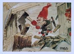 """5110  CPM  """" Vedhuggning""""   La Coupe Du Bois     ;     Illustrateur Danois  M. Davidsen - Illustrators & Photographers"""