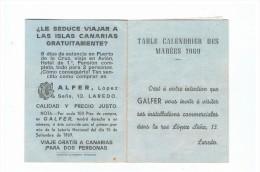 Calendrier  Des Marées     1969     Galfer  Laredo - Petit Format : 1961-70