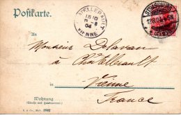 ALLEMAGNE. 10 Pf Sur Carte Postale De Strasbourg à Destination De Chatellerault En France Ayant Circulé En 1904. - Deutschland