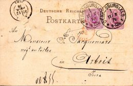 ALLEMAGNE. N°31 Sur Entier Postal De à Destination Du Jura En France Ayant Circulé En 1878. - Briefe U. Dokumente