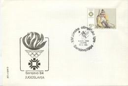 YUGOSLAVIA Olympic Cover With Olympic Cancel Slalom 17.2.1984 On Olympic Stamp - Winter 1984: Sarajevo