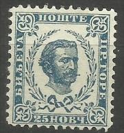 Montenegro - 1898 Prince Nicholas I 25n Blue-green MLH *.  Sc 40 - Montenegro