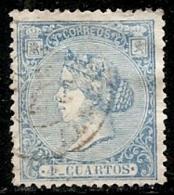 1866-ED. 81 ISABEL II 4 CUARTOS AZUL - USADO FECHADOR - Usati