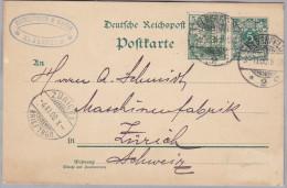 """DR 1900-11-03 ELBERFELD GS + 5Pf. Mit Perfin """"S.B."""" Schlieper&Baum Nach Zürich - Allemagne"""