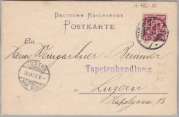 "DR 1892-09-19 MANNHEIM Postkarte Mit Perfin ""H.E."" H. Engelhard (Tapeten)"