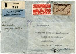 SUISSE LETTRE RECOMMANDEE PAR AVION DEPART CLARENS 2.III.36 POUR MADAGASCAR - Posta Aerea