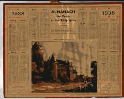 Calendrier - Almanach Des Postes Et Télégraphes 1938 Carte Du Département De L´Ain - Tamaño Grande : 1921-40