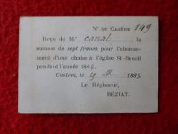 RECU POUR CHAISE A L ANNEE EGLISE St BENOIT CASTRES 1883 ARCHIVES CANAL - Documenti Storici