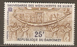 DAHOMEY.  Aéro.  1964.  Y&T N°28 *.   Sauvegarde Des Monuments De Nubie - Bénin – Dahomey (1960-...)
