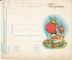 DUCK, EASTER EGG, MUSHROOM, LUXURY TELEGRAMME, UNUSED, 1968, ROMANIA - Télégraphes