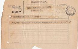 TELEGRAMME SENT FROM BOCSA TO CLUJ NAPOCA, 1929, ROMANIA - Télégraphes