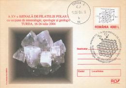 MINERALS, SALT, COVER STATIONERY, ENTIER POSTAL, 2004, ROMANIA - Minéraux