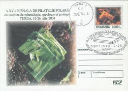 MINERALS, AUTUNITE, COVER STATIONERY, ENTIER POSTAL, 2004, ROMANIA - Minéraux