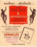Buvard : Cahiers Héraklès. Cachet Librairie Demortain Versailles. Pub Ecoutez Radio-Luxembourg... - Papeterie
