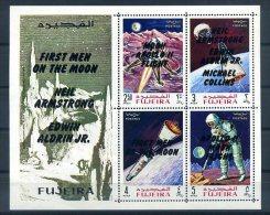 THEME COSMOS 1969 FUJEIRA BLOC AVEC NOM DES ASTRONAUTES ** MNH LUXE (sans Charnière) - Space