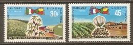 DAHOMEY.   1969.   Y&T N°282 / 283 * .Usines De Tissage Du Kenaf Et D´égrenage De Coton. / Drapeaux - Bénin – Dahomey (1960-...)