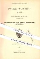 Original Patent - Creifelds & Koschin In Sülz Bei Köln , 1878 , Besen Und Bürsten Mit Metallhülsen !!! - Historical Documents