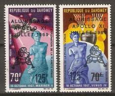 DAHOMEY.   Aéro.   1969.  Y&T N°107 / 108*.    Apollo XI  /  Homme Sur La Lune. - Bénin – Dahomey (1960-...)