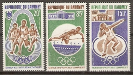 DAHOMEY.   Aéro.   1972.  Y&T N°166 à 168 **.MNH.   JO De Munich.  Course / Saut / Poids - Bénin – Dahomey (1960-...)