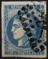 FRANCE - 20 C. Bordeaux Type III Report 1 Gris-bleu Oblitéré - 1870 Bordeaux Printing