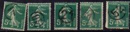 FRANCE - 5 Cachets De Nouvel An Sur 5 C. Camée - 7, 10, 21, 31, 52 - Marcophily (detached Stamps)