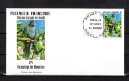 """POLYNESIE FRANCAISE 1995 : Enveloppe 1er Jour """" OISEAUX UNIQUES ... """" N° YT 480. Parfait état. FDC"""