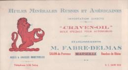 CARTON PUBLICITAIRE Ets FABRE-DELMAS SALON De PROVENCE Huiles Et Graisses Industrielles - Salon De Provence