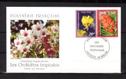 """POLYNESIE FRANCAISE 1998 : Enveloppe 1er Jour  """" ORCHIDEES TROPICALES / TIMBRES EN RELIEF """" N° YT 561 62. Parf état. FDC"""