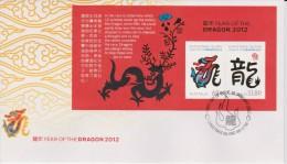 Christmas Island FDC Mi 711-712 - Block Lunar New Year - Year Of The Dragon - 2012 - Christmaseiland
