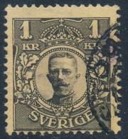 Sweden Suède Sverige: Facit 77vm2, 1kr Black Gustav V F Used, Wmk TWO Crowns  (DCSV00262) - Suède